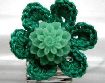 Hand crocheted green flower ring