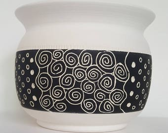 Planter, Flower Pot, Succulent Pot, Black and White Flower Pot