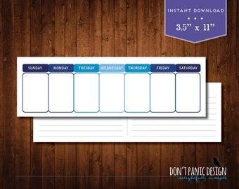Printable Weekly Calendar - Eternal Planner - Simple Modern Blue Daily Calendar - Instant Download