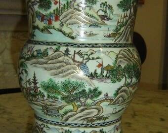 Antique Chinese Qing Dynasty Guangxu Famille Verte Gu Form Vase Signed Circa 1890 Superb.