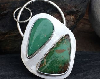 Turquoise Pendant, Green Turquoise Pendant, Sterling Silver Pendant, Alacron Turquoise Pendant
