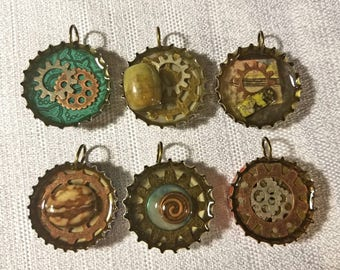 Gears and stones bottle cap necklaces