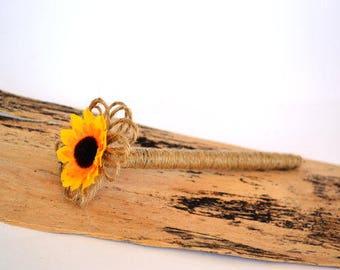 Sunflower Guest Book Wedding Pen Wooden Pen Country Guestbook Rustic Burlap Pens Advice Book Notebook Flower Pen