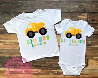 Big Brother Little Brother Dump Truck Shirt Set, Brother Shirt, Big Brother Shirt, Little Brother Shirt, Big Brother Little Brother Shirts