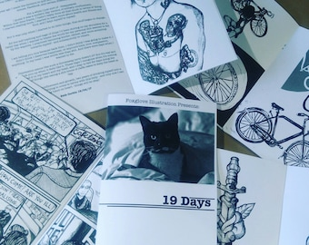 19 Days zine diy drawing illustration writing poetry mental health cats reading tattoos comic strip graphic novel book anxiety feminism
