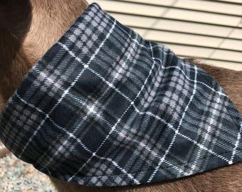 Med/Large Flannel Black Plaid Dog Bandana