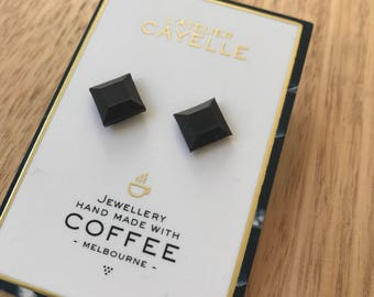 Square coffee grounds earrings