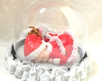 Miniature/figurine/baby girl/fimo/Christmas/red/white/decoration Christmas table/candy / idea Christmas gift/ball