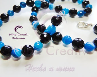 Blue Agate and Onyx Necklace
