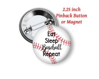 "2.25"" Baseball Button or Magnet"