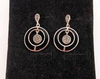 Sterling Silver Onyx & Marcasite Earrings Dangle Circular Earrings Gift for Her