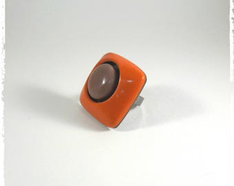 Orange and Brown polymer clay ring