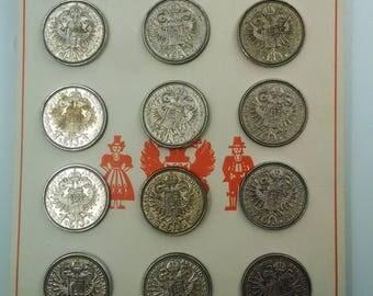 12- Silver 3/4 in metal buttons Austria-Schmuck