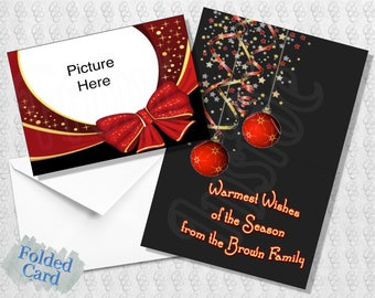 Photo Holiday Card; Happy Holiday Photo Card; Season's Greetings; Red; Black; Gold; Printed; PDF; Digital; Folded; Postcard; Shipped