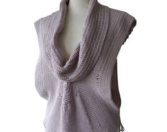 Summer poncho Pink Pearl knitting crochet Rosy