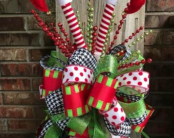 Christmas Tree Bow Topper   Red Polka Dot, Lime Green, U0026 Black Houndstooth  Ribbon