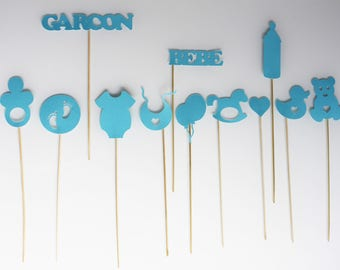 12 elements photobooth for baby shower - boy - blue