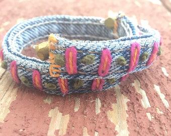 Re-Purposed Denim Hand-Embroidered Bracelet