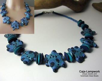 Short Lampwork necklace, blue jeans, ceramic beads, OOAK