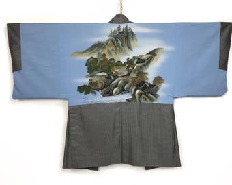 D958 Vintage Japanese Mens Haori Kimono Hand Painted Cotton + Silk