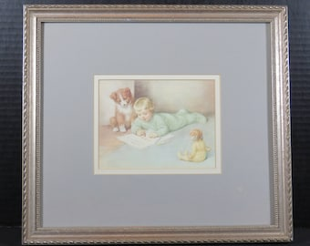 "Framed Bessie Peace Gutmann ""Asking for Trouble"" Lithograph Signed Matted Infant Baby Child Dog"