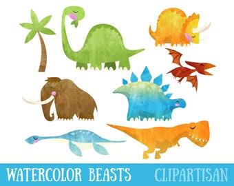 Watercolor Dinosaur Clipart / Prehistoric Animal Clip Art / T Rex / Diplodocus / Stegosaurus / Pterodactyl / Triceratops / Mammoth