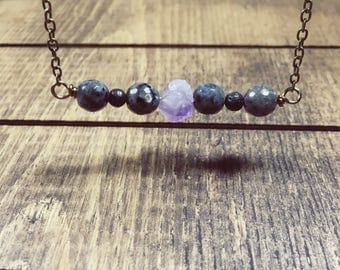 Larvikite Necklace, Black Necklace, Festival Jewelry, Bohemian Jewelry, Bead bar Necklace, Amethyst Necklace, Essential Oil Necklace