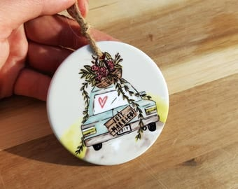 JUST MARRIED - Ornament - Christmas Ornament Porcelain - Gift for Him/Her, Coworker, Friends, BFF, Grandparents - Christmas Gift Idea