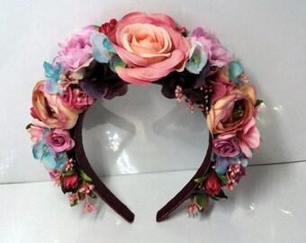 Day of the Dead Headpiece. Frida Kahlo Headband, Flower Crown,Day of the Dead Costume,Frida Costume,Mexican Headpiece