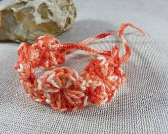Bracelet crocheted, cotton bracelet, crochet jewelry, textile jewelry, orange bracelet, 100% cotton, women jewelry, ankle bracelet