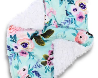 Livvy's Teal Floral Minky Baby Girl Lovey   Teal and Blush Flower Security Blanket   Mini Baby Blanket   Faux Fur Lovie