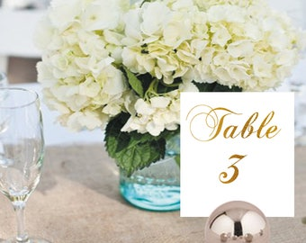 Table number card, Gold foil table number card, Gold foil place card, Wedding table number card