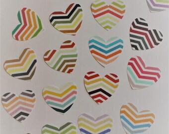 Paper heart stickers customizable wedding, anniversary/Wedding hearts stickers/autocollant coeur chevron