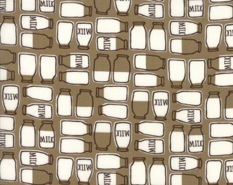 Farm Fun Moda Fabric Print Chocolate Milk bottles sold by the yard