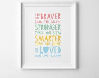 Posters for kids room decor, nursery wall quote, You are braver than you believe, prints for nursery decor, inspirational wall art quote