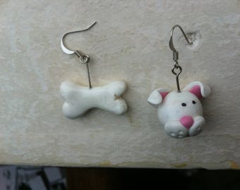 Dog and bone earrings
