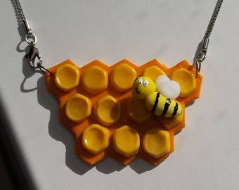 inserts of honey and bee bib necklace