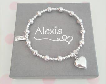 Love Heart Bracelet/Sterling Silver Love Heart Bracelet/Silver Love Heart Bracelet/Heart Bracelet/Love Bracelet/Gift for Her/Gift Ideas