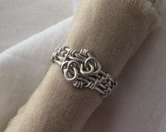 """Sterling Silver Wire Ring """"Chain Design"""""""