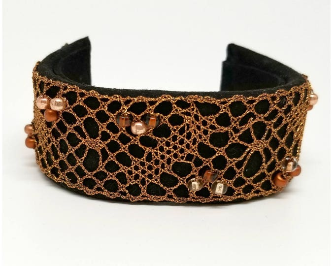 Featured listing image: Bronze Metallic Bobbin Lace and Leather Cuff