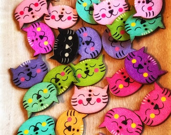 30mm Cute wood buttons, Big buttons, Wood Cat Buttons, wood Mixed pattern, 30x25 mm 2-hole 10 or 20 pack, baby, children