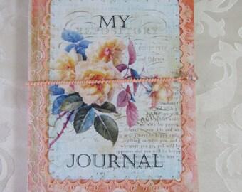 Journal in Coral & Blue; junk journal; notebook; OOAK handmade book; vintage style; memories book; scrapbook journal
