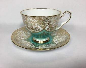 Royal Stafford Aqua and Gold Teacup and Saucer, Fine Bone China, made in England 8545