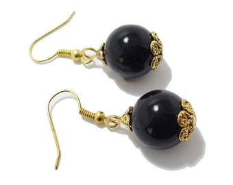 Maria cups Golden Retro black glass bead earrings.