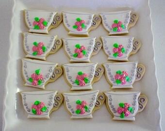 Teacup Sugar Cookies - Tea Party Cookies - Victorian - Vintage - Party Favors - Flower Cookies -  1 Dozen!
