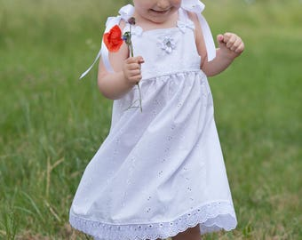 White dress with lace for wedding christening baptism birthday