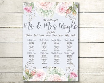 A2 floral vintage wedding / table seating plan