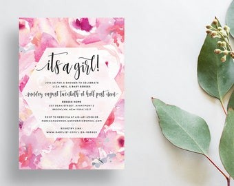 Watercolor Floral Shower Invites / Bright Pink / Calligraphy / Semi-Custom Party Bridal Baby Shower Invites / Print-at-Home Invitations