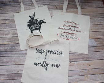 Reusable Grocery Bags, Set of 3 Reusable Grocery Bags, Tote Bags, Market Bags