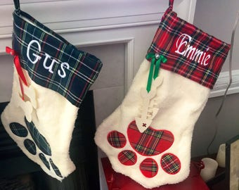 Personalized Pet Christmas Stockings, Sherpa, Paw Shape, Dog, Cat Red or Green Plaid, Embroidered Cuff